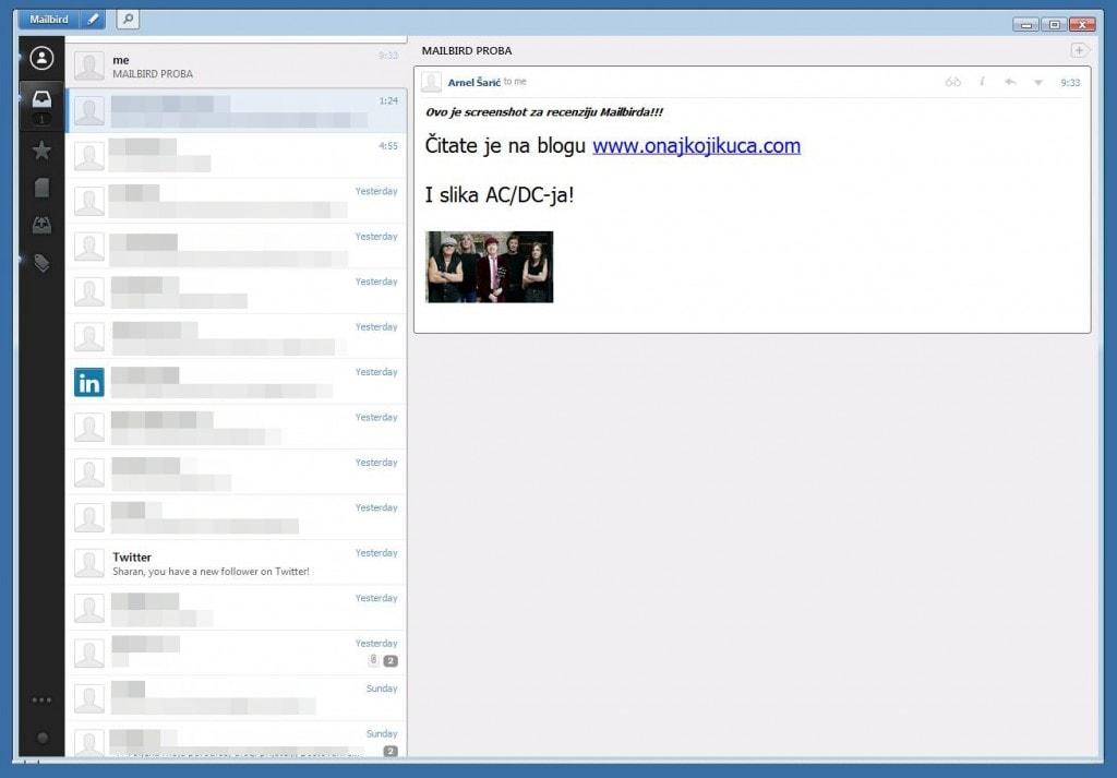 Osnovni prozor; skroz lijevo crna traka sa menijem za izbor e-mail računa, sanduče sa poslanom poštom, sanduče sa spašenom poštom, pristup aplikacijama... kraj trake, spisak e-mailova. Klikom na sliku, desno - sadržaj e-maila Izvinjavam se na cenzuri, ali tako vam je.