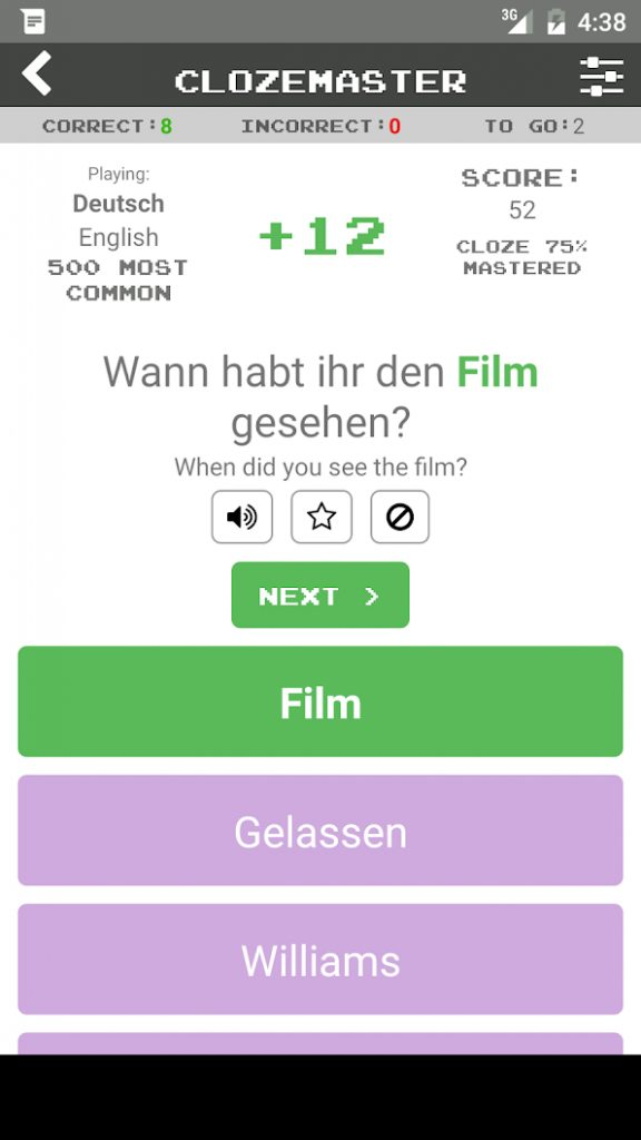 Screenshot, Android aplikacija Clozemaster