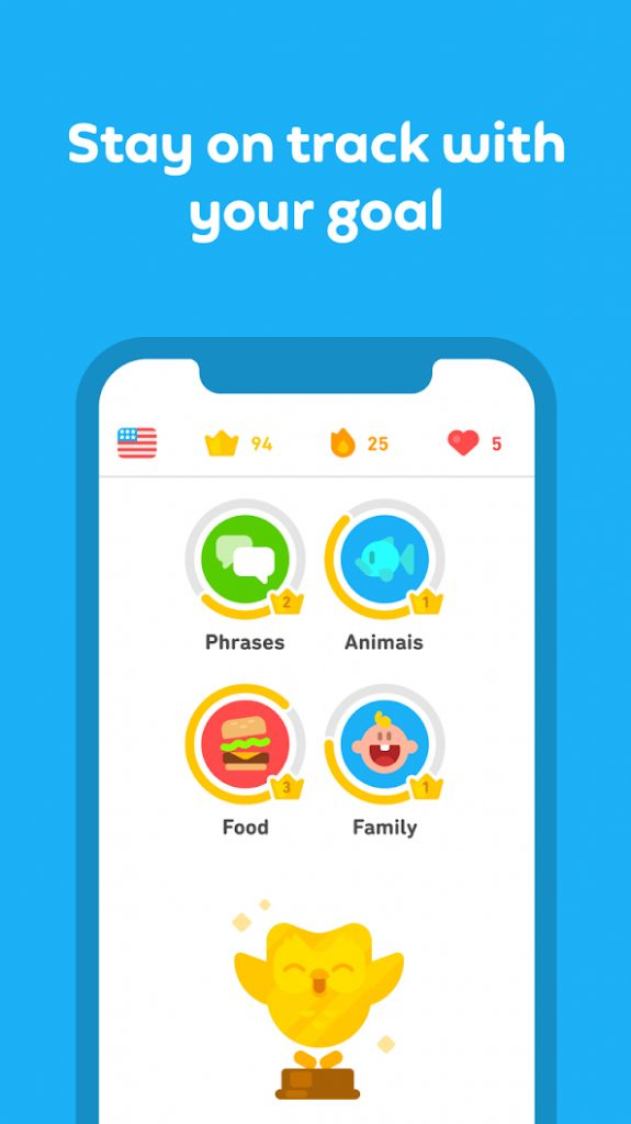 Screenshot, Android aplikacija Duolingo