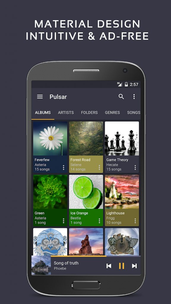 Screenshot, Android aplikacija Pulsar